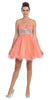 Short Puffy Coral Ball Gown Strapless Tulle A Line Skirt