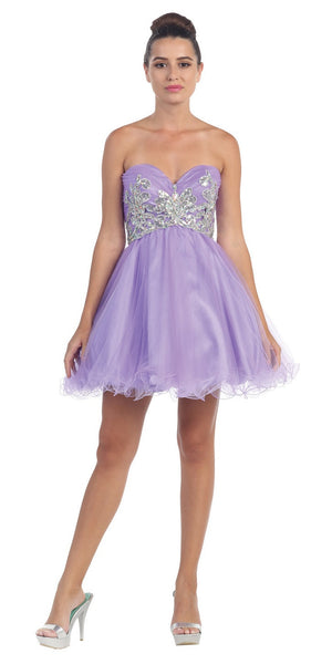 Short Puffy Lilac Ball Gown Strapless Tulle A Line Skirt
