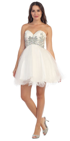 Short Puffy Off White Ball Gown Strapless Tulle A Line Skirt