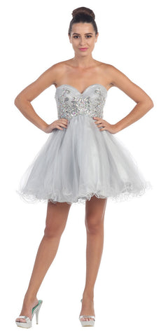 Short Puffy Silver Ball Gown Strapless Tulle A Line Skirt