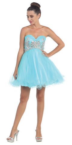 Short Puffy Turquoise Ball Gown Strapless Tulle A Line Skirt