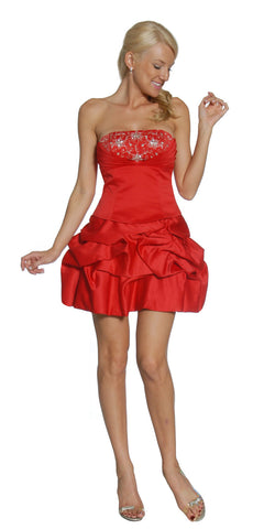 ON SPECIAL - LIMITED STOCK - Short Red Bubble Skirt Party Dress Sequin Ruch Satin Above Knee