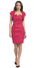 Short Ruched Fuchsia Sheath Cocktail Dress With Shrug