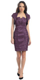 Short Ruched Plum Sheath Cocktail Dress With Shrug