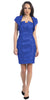 Short Ruched Royal Blue Sheath Cocktail Dress With Shrug