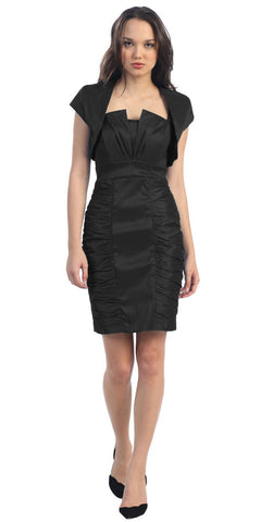Short Ruched Black Sheath Cocktail Dress With Shrug