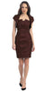 Short Ruched  Brown Sheath Cocktail Dress With Shrug