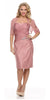 Short Ruched Bodice Dusty Rose Formal Sheath Dress