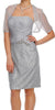 Short Ruched Bodice Silver Formal Sheath Dress