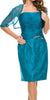 Short Ruched Bodice Teal Blue Formal Sheath Dress