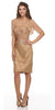 Short Ruched Bodice Taupe Formal Sheath Dress