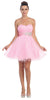 Short Ruched Sweetheart Bodice Pink A Line Prom Dress