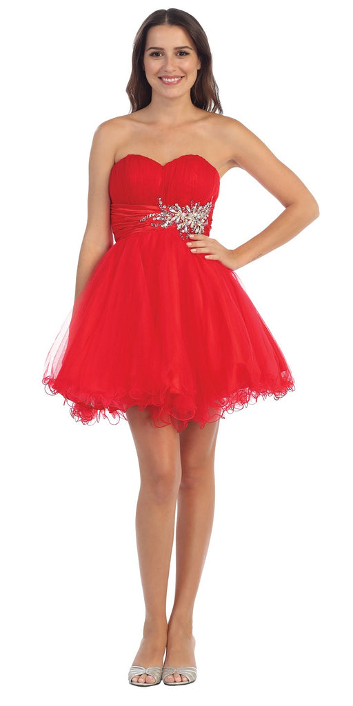 Short Ruched Sweetheart Bodice Red A Line Prom Dress