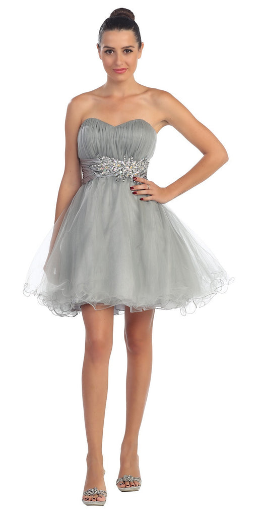 Short Ruched Sweetheart Bodice Silver A Line Prom Dress