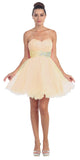 Short Ruched Sweetheart Bodice Champagne A Line Prom Dress