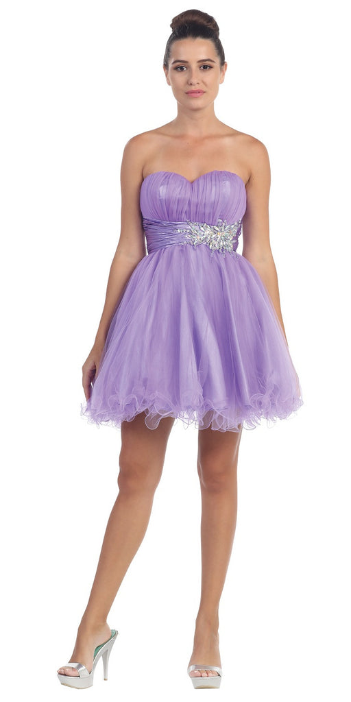 Short Ruched Sweetheart Bodice Lavender A Line Prom Dress