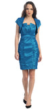 Short Ruched Teal Sheath Cocktail Dress With Shrug