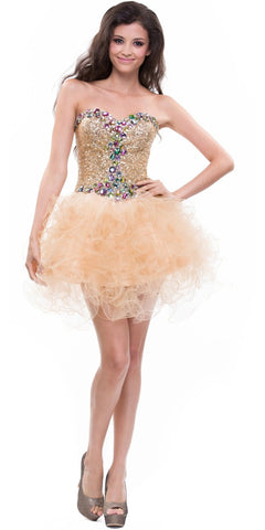 ON SPECIAL - LIMITED STOCK - Short Sequin Gold Formal Dress Strapless Jeweled Tulle Skirt