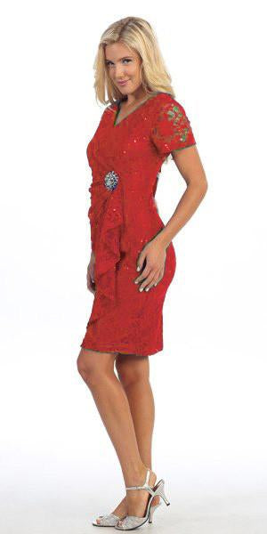 Celavie 6038 Short Sleeved Short Side Gathered Red Dress