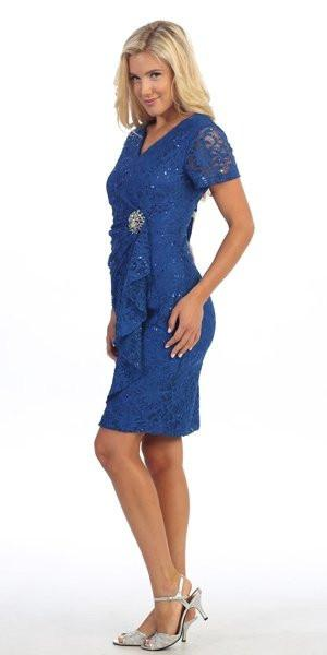 Celavie 6038 Short Sleeved Short Side Gathered Royal Blue Dress