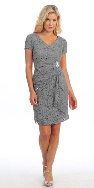 Short Sleeved Short Side Gathered Silver Cocktail Dress