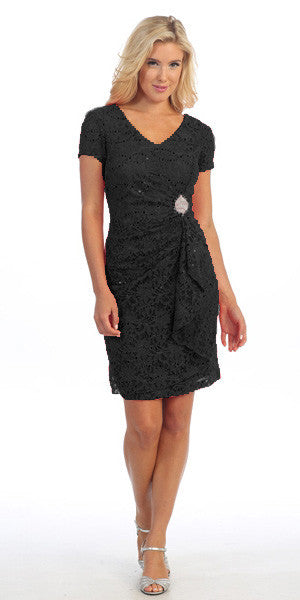 Short Sleeved Short Side Gathered Black Cocktail Dress