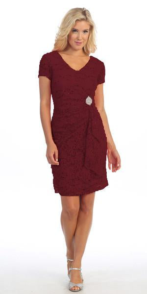 Celavie 6038 Short Sleeved Short Side Gathered Burgundy Dress