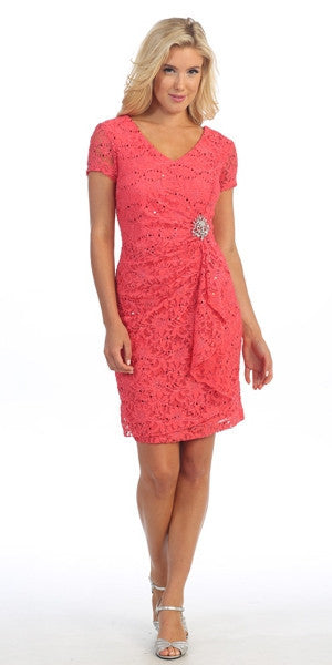 Celavie 6038 Short Sleeved Short Side Gathered Coral Dress