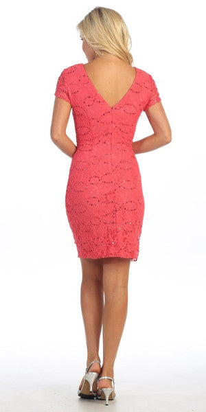 Short Sleeved Short Side Gathered Coral Cocktail Dress