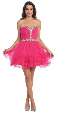 Short Strapless Studded Sweetheart Neck Fuchsia Homecoming Dress
