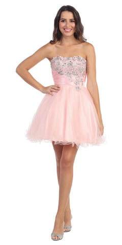 Short Studded Bodice Strapless Blush Puffy Prom Dress