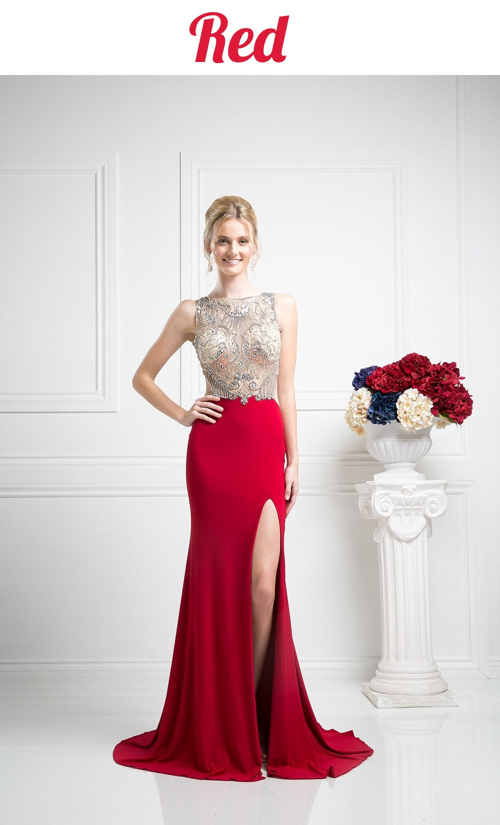 Show Stopper Open Back Illusion Red Evening Dress High Slit