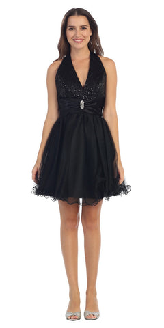 Black Halter Homecoming Dress Sequin Top Mesh Tulle Overlay Skirt