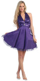 Purple Halter Homecoming Dress Sequin Top Mesh Tulle Overlay Skirt