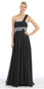 Single Strapped Ruched Bodice A Line Black Evening Gown