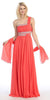Single Strapped Ruched Bodice A Line Coral Evening Gown