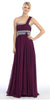 Single Strapped Ruched Bodice A Line Plum Evening Gown