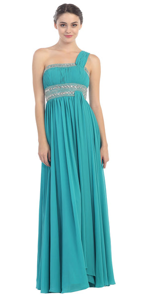 Single Strapped Ruched Bodice A Line Jade Evening Gown