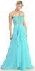 Single Strapped Studded Baby Blue Long Quinceanera Dress