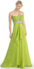Single Strapped Studded Lime Green Long Quinceanera Dress