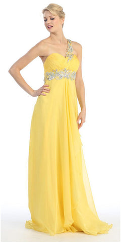 Single Strapped Studded Yellow Long Quinceanera Dress