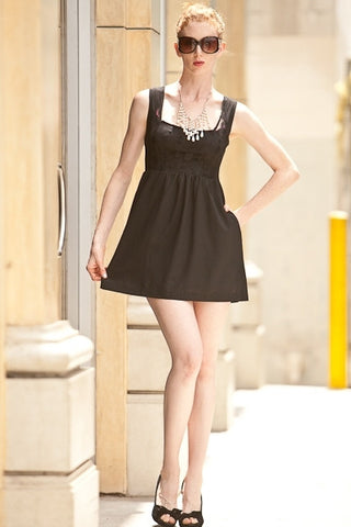 Sleeveless Black Polka Dot Lace Overlay Dress Wide Straps Pockets
