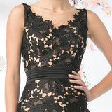 Cinderella Divine CF053 Sleeveless Lace Overlay Black Cocktail Dress Short