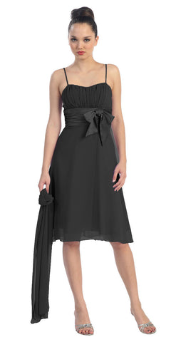 Spaghetti Strapped Sleeveless Short Black Bridesmaid Dress