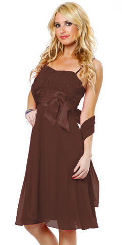 Spaghetti Strapped Sleeveless Short Brown Bridesmaid Dress