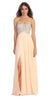 Sparkly Sweetheart Peach Prom Dress Empire Leg Slit