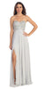 Starbox USA 549 Sparkly Sweetheart Silver Prom Dress Empire Leg Slit