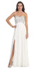 Sparkly Sweetheart Ivory Prom Dress Empire Leg Slit