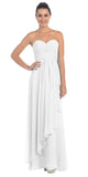Starbox USA L6074-1 Long Strapless Chiffon Bridesmaid Dress Off White