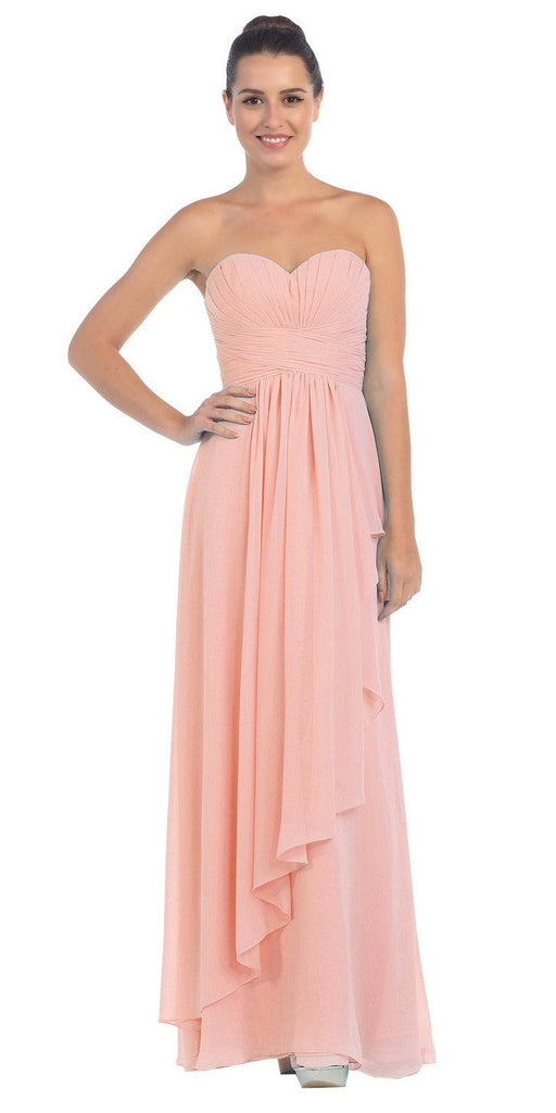 Starbox USA L6074-1 Long Strapless Chiffon Bridesmaid Dress Blush